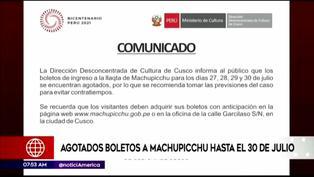 Se agotan entradas para ingresar a Machu Picchu hasta el 30 de julio