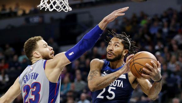 Derrick Rose, hombre de los Minnesota Timberwolves deleitó a los aficionados de su equipos con este notable canasta ante Detroit Pistons. El video fue publicado en Facebook. (Foto: AP)