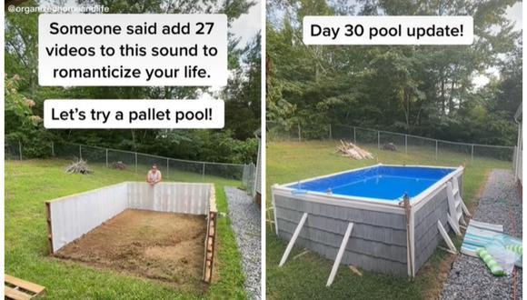 Un hombre le construye una enorme piscina a su familia en apenas 12 horas y con solo 140 dólares. (Foto: TikTok    organizedhomeandlife)