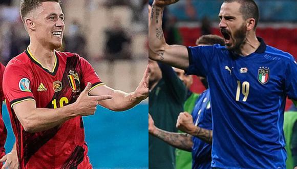 Italia y Bélgica llevan invictos al encuentro por los cuartos de final de la Eurocopa 2021. (Foto: AFP)