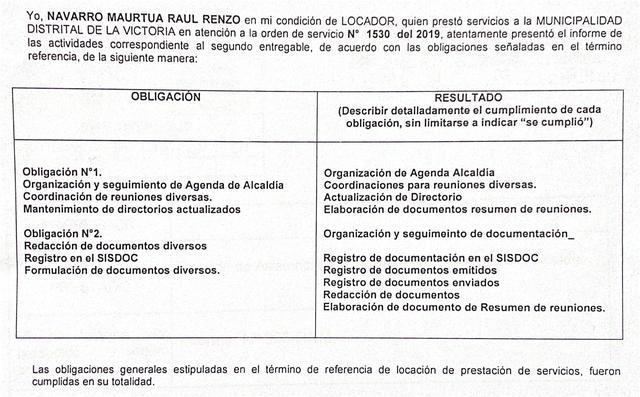 Renzo Navarro reportó en el informe de locador sus funciones realizadas. (Foto: El Comercio)