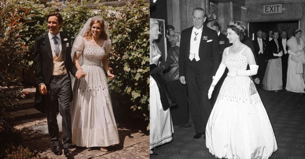 Beatriz de York ha contraído matrimonio en secreto este fin de semana. Para la ocasión, ha curado un vestido de novia de diseño vintage, que le pertenecía nada más y nada menos que a su abuela, la reina Isabel II. (Fotos: IG/ @enews)