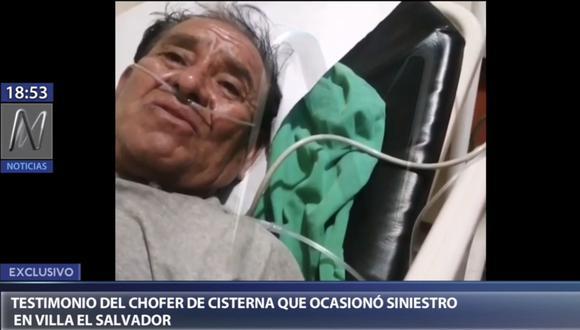 Conductor de camión cisterna que transportaba gas licuado de petróleo (GLP) y que provocó el incendio en Villa El Salvador, Luis Palomino Guzmán, dio su testimonio a la Policía Nacional del Perú (PNP) sobre lo ocurrido esta mañana. (Foto: Captura Canal N)