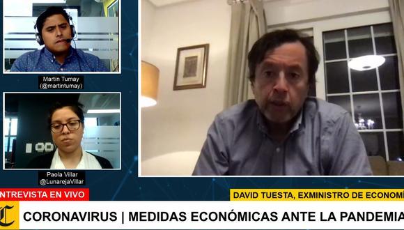 Martín Tumay y Paola Villar, periodista de la sección Economía, durante una de las entrevistas transmitidas en vivo por El Comercio.