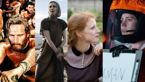 Ben Hur (1959), María Magdalena (2018), El árbol de la vida (2011) y La llegada (2016), cuatro películas que muestran, a su manera, el misticismo. (Fotocomposición: El Comercio)