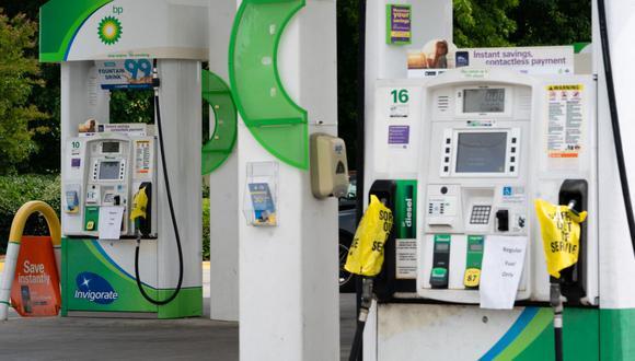 Las bombas de gasolina vacías se ponen fuera de servicio en una estación de BP el 11 de mayo de 2021 en Smyrna, Georgia (Estados Unidos). (Elijah Nouvelage / AFP).