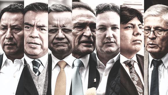 Entre los excongresistas investigados y denunciados por la fiscalía se encuentran: Héctor Becerril, Javier Velásquez Quesquén, Marvin Palma, Daniel Salaverry, Jorge Castro y Clemente Flores. (Composición: El Comercio)