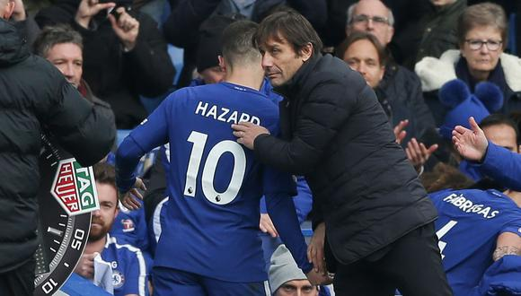 """Antonio Conte pide a directiva del Chelsea """"no vender"""" a Hazard. (Foto: AFP)"""