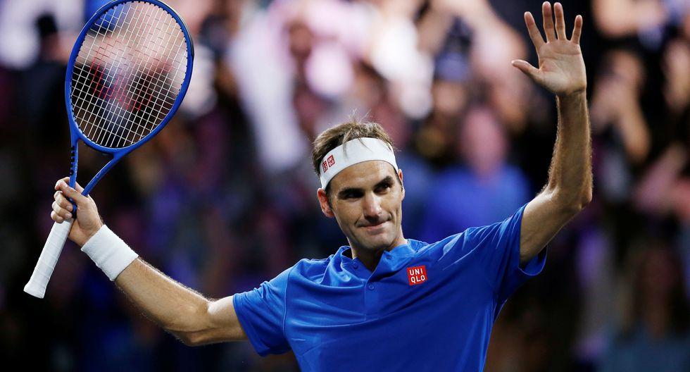 Tennis - Laver Cup - Geneva, Switzerland - September 21, 2019  Team Europe's Roger Federer celebrates winning his singles match against Team World's Nick Kyrgios REUTERS/Pierre Albouy