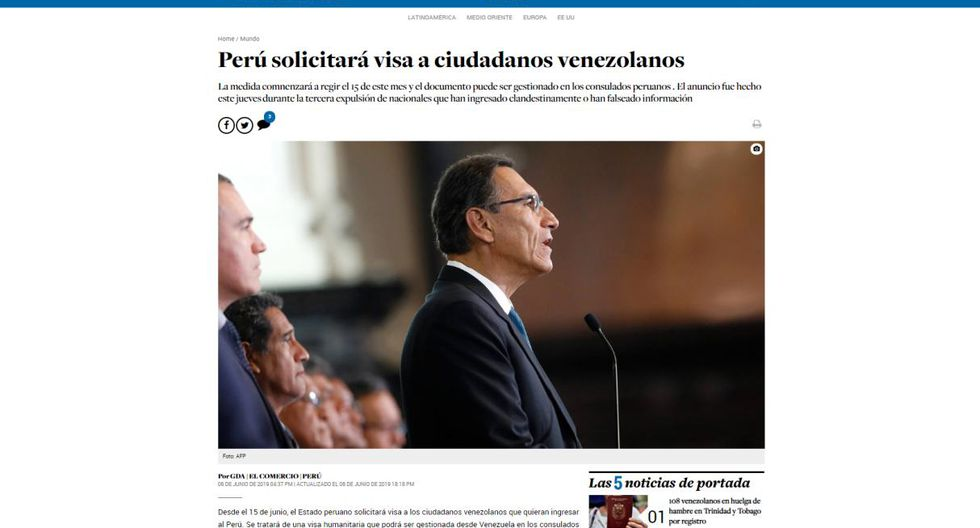 """""""El Nacional"""" de Venezuela rotula: """"Perú solicitará visa a ciudadanos venezolanos""""."""