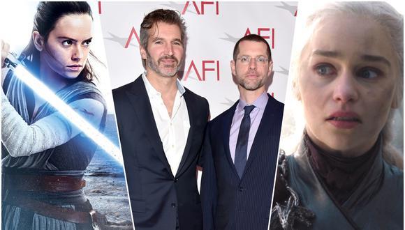 """Al centro David Benioff y D.B.Weiss, productores de """"Game of Thrones"""" que cambiaron esta historia momentáneamente por """"Star Wars"""", pero que ahora trabajan para Netflix. Fotos: Lucasfilm/ HBO/ AFP"""