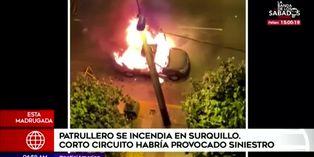 Surquillo: corto circuito provoca incendio de un patrullero policial