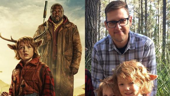 "A la izquierda, arte promocional de ""Sweet Tooth"" de Netflix. A la derecha, el escritor Jeff Lemire junto a Christian Convey, intérprete de Gus. Fotos: Netflix."