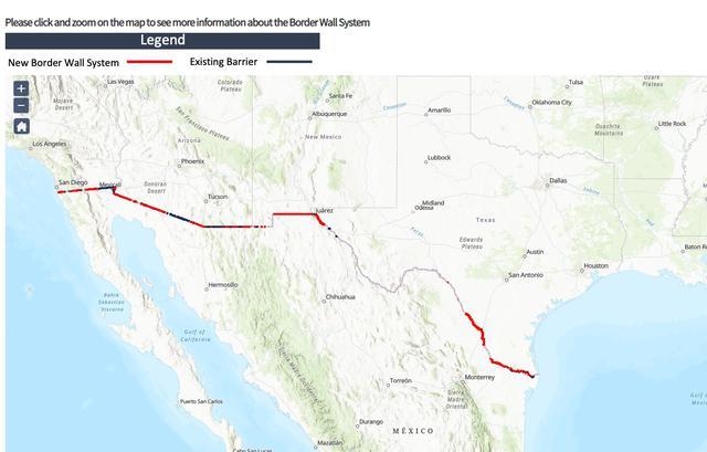 La línea roja señala las partes del muro nuevo construido en estos cuatro años, así como las refacciones y mejores en las barreras que ya estaban implementadas. Fuente: US Customs and Border Protection
