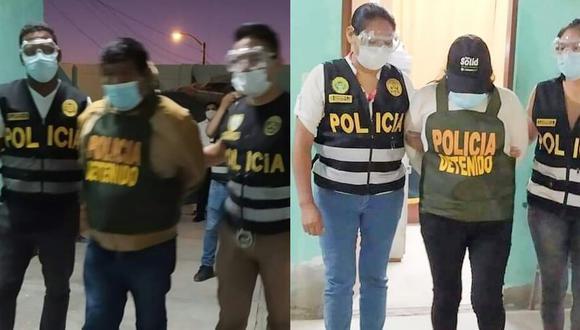 Jorge Aniceto Paco Cabrera y Nancy Marisol Mamani Huayhua continuarán recluidos en un centro penitenciario para las investigaciones. (Foto: PNP)
