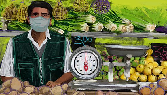 Mercados: pandemia y posibilidad. Ante la crisis de salubridad en los mercados peruanos tras los casos confirmados de coronavirus ¿podrán adaptarse a los cambios? (Ilustración: Giovanni Tazza)