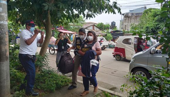 Emiliana Luna Huamán, quien sería una de las más grandes traficantes de madera, fue detenida en su domicilio en el centro poblado de Alerta. (Foto: Manuel Calloquispe)