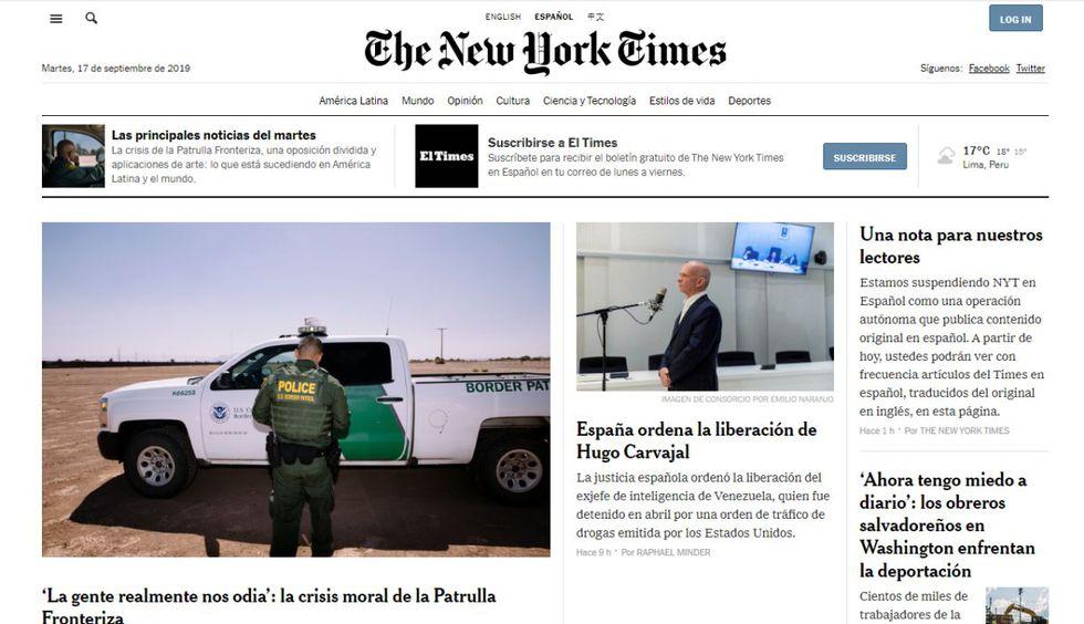 Portada actual de la web del New York Times en español. El periódico puntualiza que el cierre no afectará la cobertura de América Latina. (Captura de pantalla)
