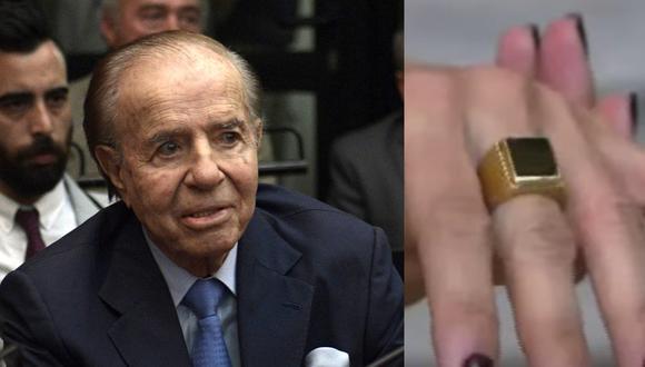 """La hija de Carlos Menem, Zulemita,  destacó que se encuentra """"muy feliz"""" y mostró el anillo en su dedo. (AFP/Juan Mabromata - Captura de video/YouTube)."""