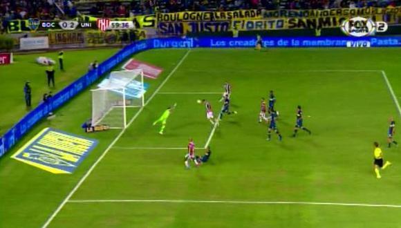 Boca Juniors vs. Unión: Augusto Lotti y su noche soñada tras anotar el 2-0 del equipo de Santa Fe.   Foto: Captura