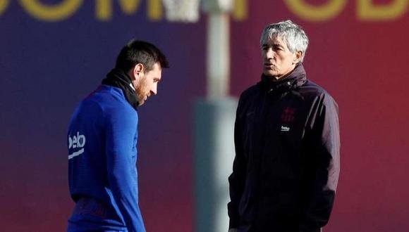 Lione Messi y Quique Setién se reunieron el pasado sábado para resolver la situación de Barcelona. (Foto: AFP)