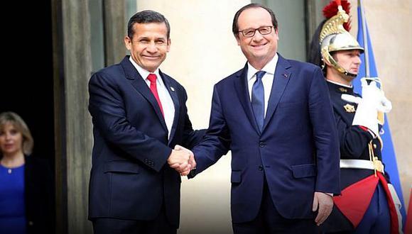 Es la tercera vez en dos años que Ollanta Humala se reúne con el presidente francés, Francois Hollande. (Foto: Andina)