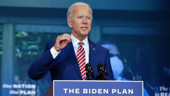 El candidato presidencial demócrata, Joe Biden, pronuncia diversos comentarios sobre el coronavirus en el teatro The Queen en Wilmington, Delaware (Estados Unidos). (Foto: AFP / Angela Weiss).