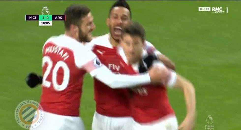 Laurent Koscielny marcó el 1-1 parcial en el Manchester City vs. Arsenal por una nueva fecha de la Premier League (Foto: captura de pantalla)