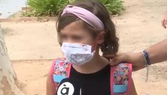 Un video viral protagonizado por una niña revela su sincero punto de vista sobre el uso de mascarillas.   Crédito:  Àpunt / Captura de TV.