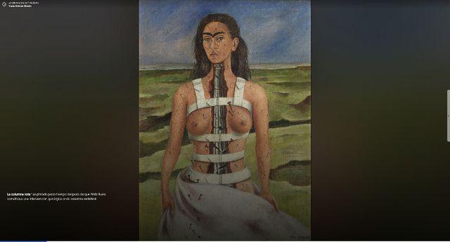 """""""La columna rota"""" (1944) es una obra que pintó tras su operación a la columna vertebral.  (Foto: Google Arts & Culture)"""