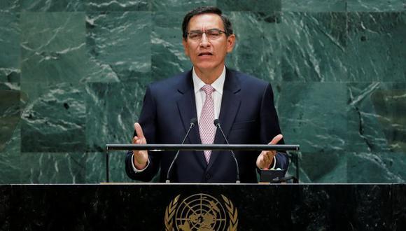 El presidente del Perú, Martín Vizcarra, durante su intervención en la Asamblea General de la ONU. (Foto: Reuters)