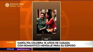 María Pía Copello celebró 15 años de casada y dedicó romántico mensaje a su esposo