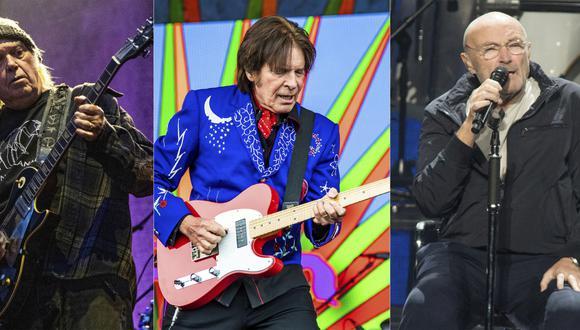"""En esta combinación de fotos, de izquierda a derecha, Neil Young toca en el Festival de Música BottleRock de Napa Valley en Napa, California el 25 de mayo de 2019, John Fogerty toca en el Festival de Jazz y Herencia de Nueva Orleáns el 5 de mayo de 2019, y Phil Collins actúa durante la gira """"Not Dead Yet"""" en Filadelfia el 8 de octubre de 2018. Young, Fogerty y Collins están entre varios artistas que han rechazado el uso de sus canciones en los eventos de campaña del presidente Donald Trump. (AP Foto)"""