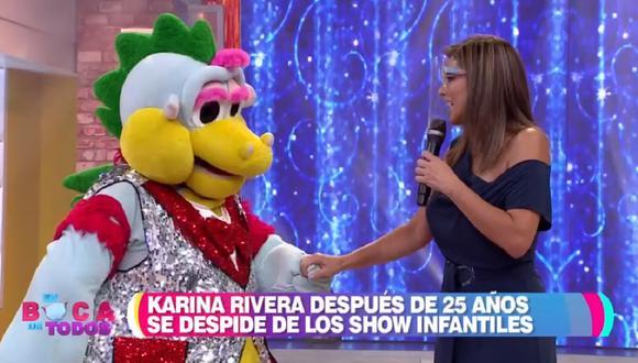 """Karina Rivera y 'Timoteo' en el programa """"En boca de todos"""". (Foto: Captura América TV)"""