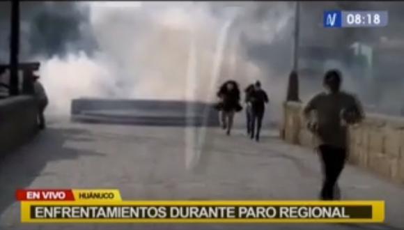 Los huelguistas han colocado piquetes en distintos puntos de la ciudad de Huánuco. (Captura Canal N)