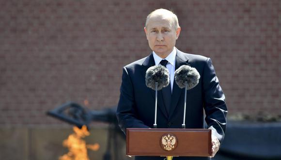 El presidente ruso, Vladimir Putin, pronuncia un discurso en Moscú, el 22 de junio de 2021. (Alexei Nikolsky, Sputnik, Kremlin Pool/AP).