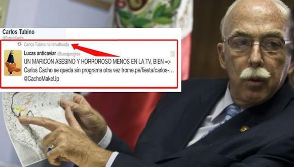 Twitter: arremeten contra Carlos Tubino por retuitear mensaje