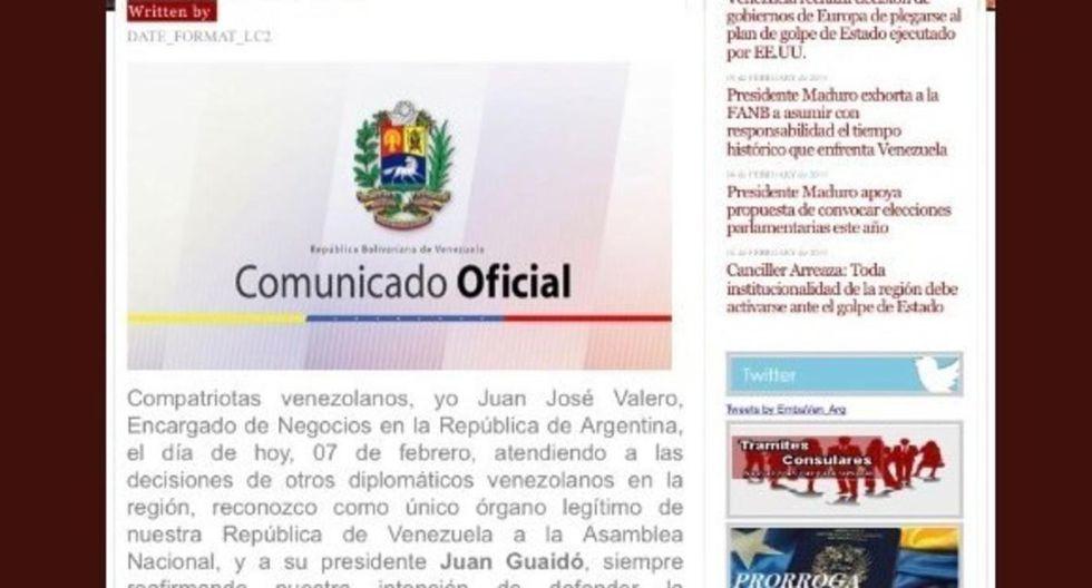 Imágen de la página web de la embajada de Venezuela en Argentina donde hackers publicaron un mensaje en el que se apoyaba a Juan Guaidó. (Captura)
