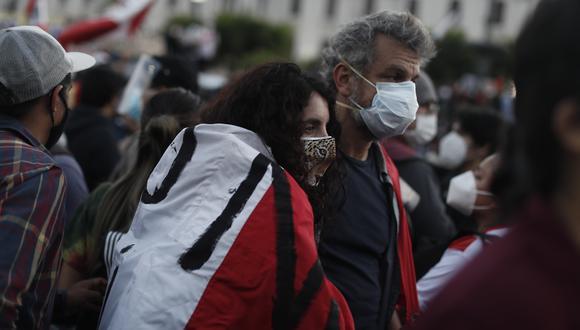Manifestantes en el Centro de Lima durante la gran marcha nacional. (Foto: El Comercio)