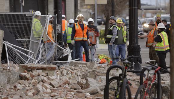Daños materiales en un edificio tras el sismo de magnitud 5,7 que sacudió a Utah. (Foto AP / Rick Bowmer).