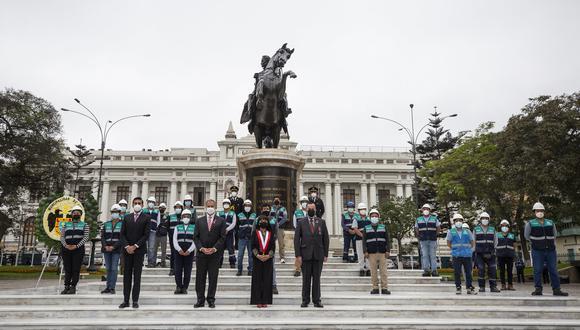 El alcalde de Lima, Jorge Muñoz, entregó el monumento renovado. (Foto: Municipalidad de Lima)
