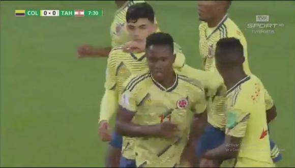 Luis Sinisterra se encargó del colocar el 1-0 en el Colombia vs. Tahití en el marco de la fecha 3 del Mundial Sub 20 (Foto: captura de pantalla)