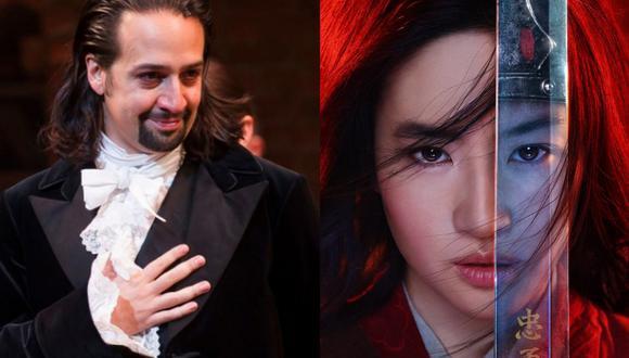 """De izquierda a derecha, imágenes de las producciones """"Hamilton"""" y """"Mulan"""", que llegarán a Latinoamérica de manera exclusiva por Disney+. Fotos: Disney."""