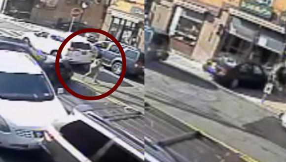 Momento en que el auto embiste a una mujer junto a su bebé en brazos. (Foto: captura de pantalla | Policía del Departamento de Yonkers)