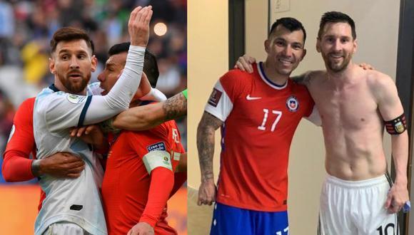 Del 2019 al 2021. Messi y Medel de cabezazos a los abrazos. (Foto: AFP / Instagram)