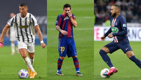 Cristiano Ronaldo, Lionel Messi y Neymar serán los protagonistas este domingo en los duelos de sus respectivos equipos | Fotos: Agencias
