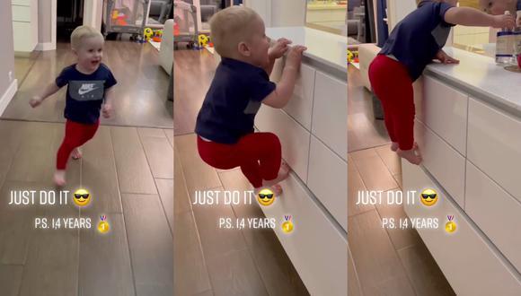 Un video viral lanzó al estrellato en redes sociales a un bebé con un talento innato para el parkour. | Crédito: @supermark2019 / TikTok