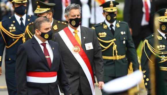 El presidente Francisco Sagasti participó este domingo en la ceremonia por el aniversario de la Policía Nacional. (Foto: Fernando Sangama/GEC)
