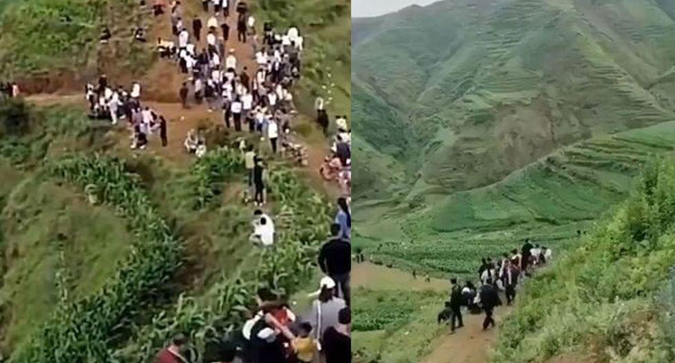 Los pobladores de Xiushui, subieron hasta lo más alto de la montaña en busca de la supuesta criatura que emitía el aterrador sonido.   Foto: @horrorlosers