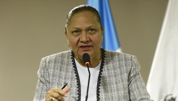 La Fiscal General de Guatemala, María Consuelo Porras, habla durante una conferencia de prensa en la Ciudad de Guatemala. (Foto: Johan ORDONEZ / AFP).